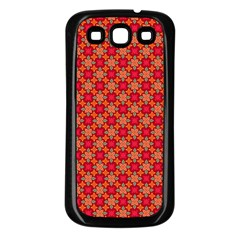 Abstract Seamless Floral Pattern Samsung Galaxy S3 Back Case (Black)