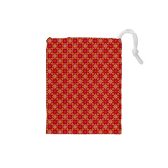 Abstract Seamless Floral Pattern Drawstring Pouches (Small)