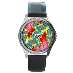 Colored Fractal Background Round Metal Watch