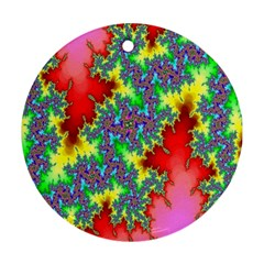 Colored Fractal Background Ornament (round)