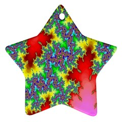 Colored Fractal Background Ornament (star)