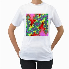 Colored Fractal Background Women s T Shirt (white) (two Sided)