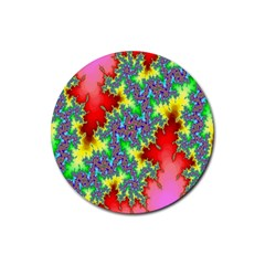 Colored Fractal Background Rubber Coaster (Round)