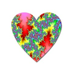 Colored Fractal Background Heart Magnet