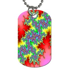 Colored Fractal Background Dog Tag (One Side)