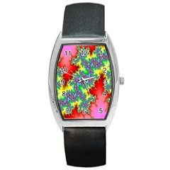 Colored Fractal Background Barrel Style Metal Watch