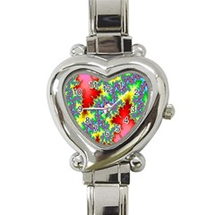 Colored Fractal Background Heart Italian Charm Watch