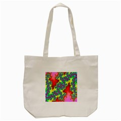 Colored Fractal Background Tote Bag (Cream)