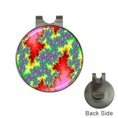 Colored Fractal Background Hat Clips with Golf Markers