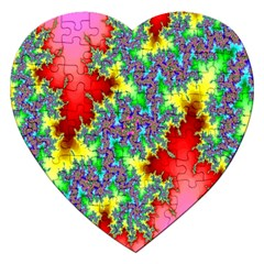 Colored Fractal Background Jigsaw Puzzle (Heart)