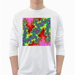 Colored Fractal Background White Long Sleeve T-Shirts