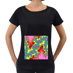 Colored Fractal Background Women s Loose Fit T Shirt (black)