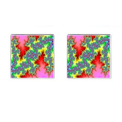 Colored Fractal Background Cufflinks (Square)