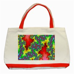 Colored Fractal Background Classic Tote Bag (red)