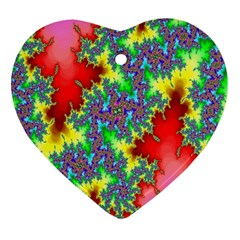 Colored Fractal Background Heart Ornament (two Sides)