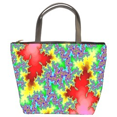 Colored Fractal Background Bucket Bags