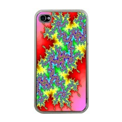 Colored Fractal Background Apple Iphone 4 Case (clear)