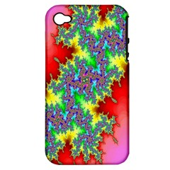 Colored Fractal Background Apple iPhone 4/4S Hardshell Case (PC+Silicone)