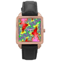 Colored Fractal Background Rose Gold Leather Watch