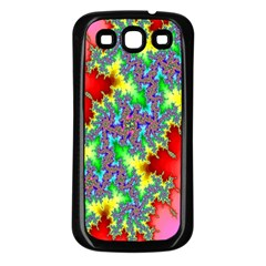 Colored Fractal Background Samsung Galaxy S3 Back Case (Black)