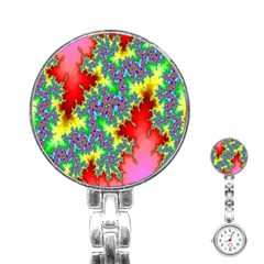 Colored Fractal Background Stainless Steel Nurses Watch
