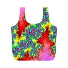 Colored Fractal Background Full Print Recycle Bags (m)