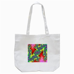 Colored Fractal Background Tote Bag (White)