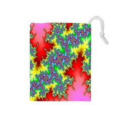 Colored Fractal Background Drawstring Pouches (medium)