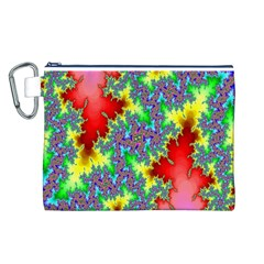 Colored Fractal Background Canvas Cosmetic Bag (L)