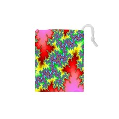 Colored Fractal Background Drawstring Pouches (XS)