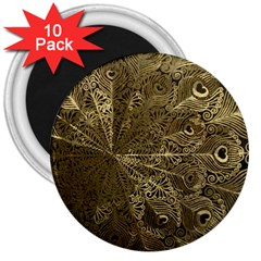 Peacock Metal Tray 3  Magnets (10 pack)