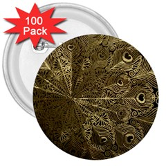 Peacock Metal Tray 3  Buttons (100 Pack)