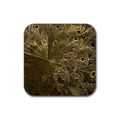Peacock Metal Tray Rubber Coaster (Square)