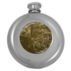 Peacock Metal Tray Round Hip Flask (5 Oz)