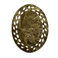 Peacock Metal Tray Oval Filigree Ornament (two Sides)
