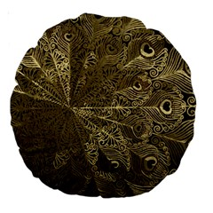 Peacock Metal Tray Large 18  Premium Round Cushions