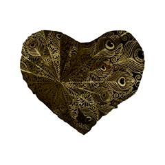 Peacock Metal Tray Standard 16  Premium Heart Shape Cushions