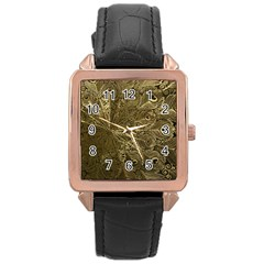 Peacock Metal Tray Rose Gold Leather Watch