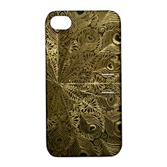 Peacock Metal Tray Apple iPhone 4/4S Hardshell Case with Stand