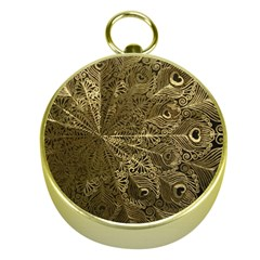 Peacock Metal Tray Gold Compasses
