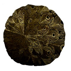 Peacock Metal Tray Large 18  Premium Flano Round Cushions