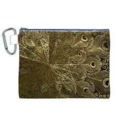 Peacock Metal Tray Canvas Cosmetic Bag (xl)