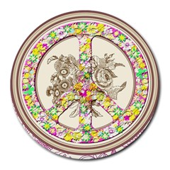 Peace Logo Floral Pattern Round Mousepads