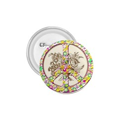 Peace Logo Floral Pattern 1.75  Buttons