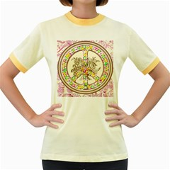 Peace Logo Floral Pattern Women s Fitted Ringer T Shirts