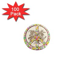Peace Logo Floral Pattern 1  Mini Magnets (100 Pack)