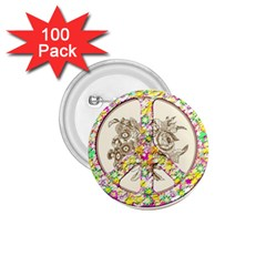Peace Logo Floral Pattern 1 75  Buttons (100 Pack)