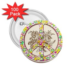 Peace Logo Floral Pattern 2 25  Buttons (100 Pack)