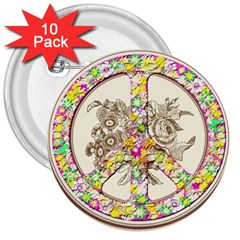 Peace Logo Floral Pattern 3  Buttons (10 Pack)