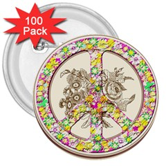 Peace Logo Floral Pattern 3  Buttons (100 Pack)